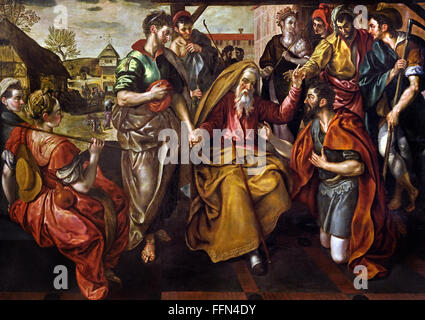 Abraham charged his servant Eliezer to find a wife for his son Isaac. 1563 Flemish Belgian Belgium ( Abraham asked - Stock Photo