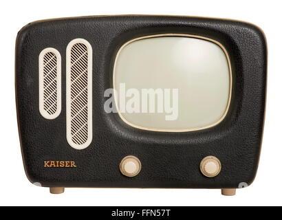 broadcast, television, television set Kaiser, version Prinz, weight: 11.5 kilogram, first portable television set - Stock Photo