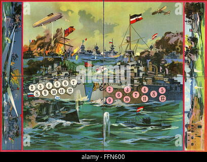 First World War / WWI, Germany, patriotic board game about the beginning of the first world war, lithograph, 1915, - Stock Photo