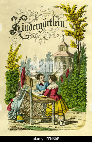 pedagogy, Kindergärtlein, kindergarten, children playing in the park, in the garden, Germany, lithograph, 1855, - Stock Photo