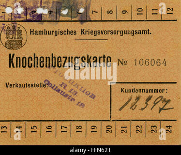 First World War / WWI, Germany, Hamburg, WW I, post-war time, ration card for bones of the war supply office, valid - Stock Photo