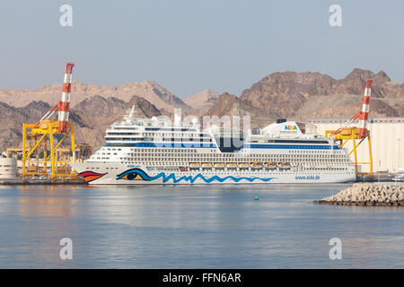 AIDA Stella cruise liner in Muscat, Oman - Stock Photo