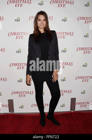 Model Laura James arrives at the premiere of Unstuck's 'Christmas Eve' at the ArcLight Hollywood on December 2, - Stock Photo