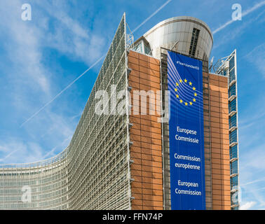 European Commission Headquarters, Berlaymont building, part of the European Parliament, Brussels, Belgium, Europe - Stock Photo
