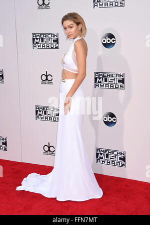 Model Gigi Hadid arrives at the 2015 American Music Awards at Microsoft Theater on November 22, 2015 in Los Angeles, - Stock Photo