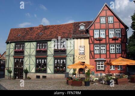 geography / travel, Germany, Saxony-Anhalt, Quedlinburg, gastronomy, Café am Finkenherd, exterior view, Additional - Stock Photo