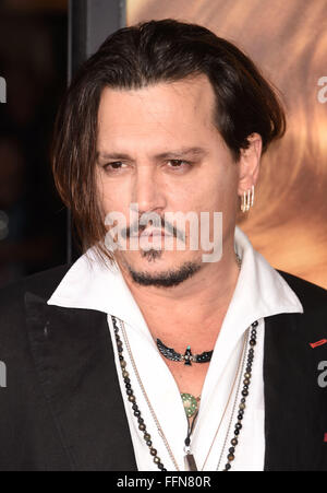 Actor Johnny Depp arrives at the premiere of Focus Features' 'The Danish Girl' at Westwood Village Theatre on November - Stock Photo