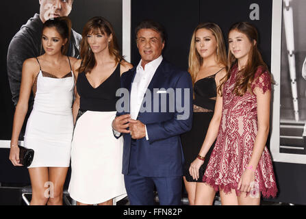 (L-R) Sistine Rose Stallone, wife Jennifer Flavin, actor/producer Sylvester Stallone, daughters Sophia Rose Stallone - Stock Photo