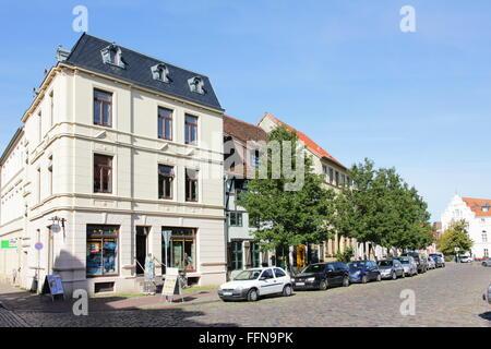 geography / travel, Germany, Mecklenburg-West Pomerania, Wismar, Ziegenmarkt, street in historic city centre, Additional - Stock Photo