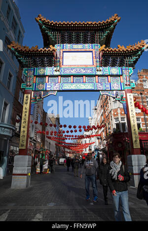 London,UK,16th February 2016,Blue skies over the pagoda in China Town Londo Credit: Keith Larby/Alamy Live News - Stock Photo