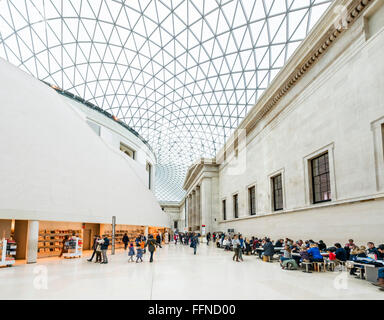 The Great Court in the British Museum, Bloomsbury, London, England, UK - Stock Photo