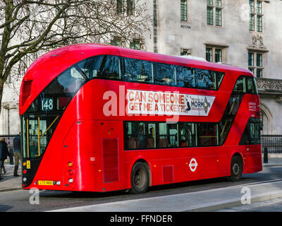 Modern red double-decker London bus, Central London, England, UK - Stock Photo