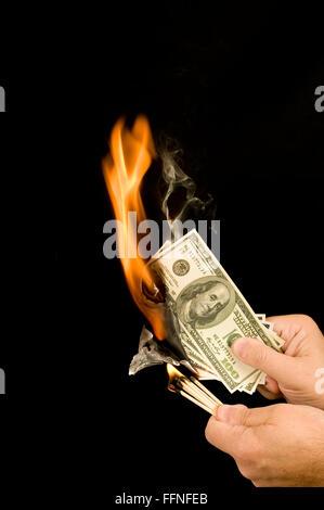 Money Up In Smoke - Stock Photo