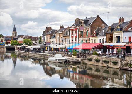 Colorful summer verandas of restaurants on the Belu embankment in Amiens, France - Stock Photo