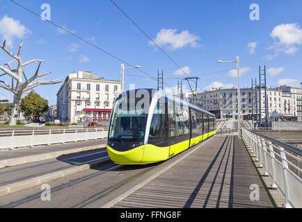 Yellow tram on the street of Brest, Brittany, France - Stock Photo