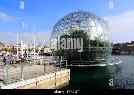 The Biosphere, Porto Antico, Genoa town, Liguria, Italy, Europe. - Stock Photo