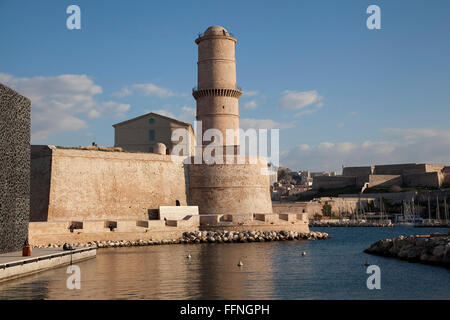 Tower of Fort Saint Jean in Marseille old port, France - Stock Photo
