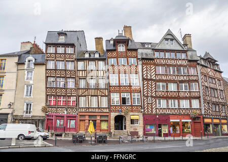 Old half-timbered buildings in Rennes, Brittany, France - Stock Photo