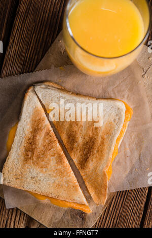 Cheese Sandwich (selective focus) on vintage wooden background - Stock Photo