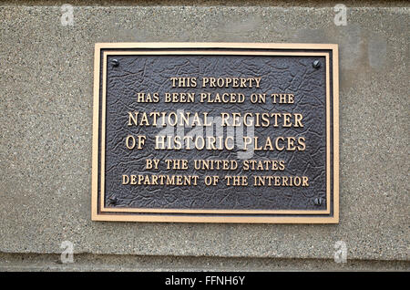 Plaque placing historic WPA fieldstone auditorium on the National Register of Historic Places. Brandon Minnesota - Stock Photo