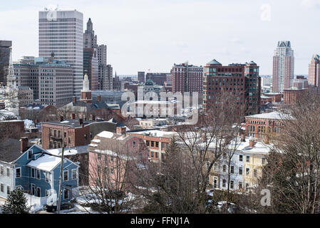 Downtown Providence, Rhode Island seen from the College Hill neighborhood. - Stock Photo