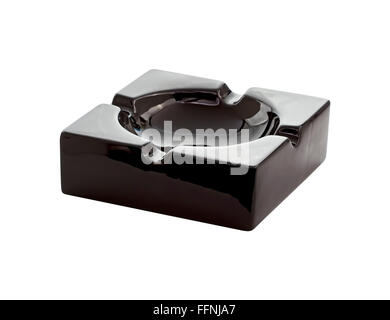 Empty black ceramic ashtray - Stock Photo