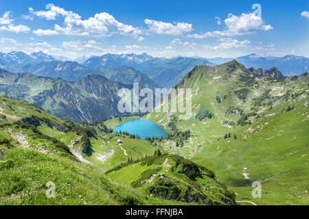 Lake Seealpsee in the mountain landscape of the Allgau Alps above of Oberstdorf, Germany. - Stock Photo