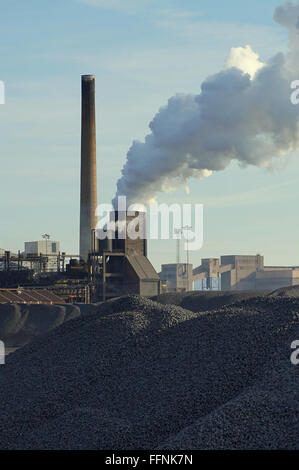 Redcar Coke Works in full production as seen from the Coal Handling Point. - Stock Photo