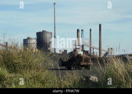 Redcar Steel Works as seen from the sand dunes of the South Gare, Redcar. - Stock Photo