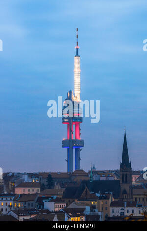The Zizkov Television Tower in Prague - Stock Photo