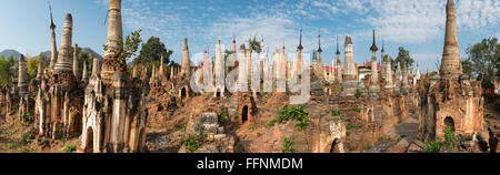 Panoramic view of Shwe Inn Thein Pagoda, a group of crumbling Buddhist stupas in Inthein (Indein), Inle Lake, Shan - Stock Photo