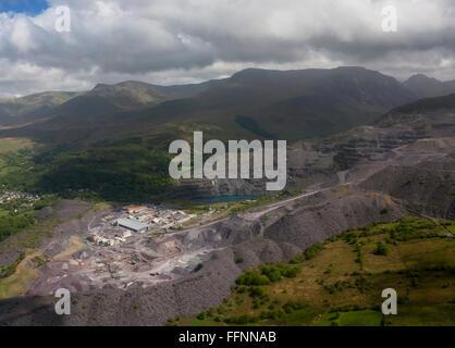 Aerial view of Penrhyn Slate Quarry and Carneddau mountain range Snowdonia National Park Bethesda Gwynedd North - Stock Photo