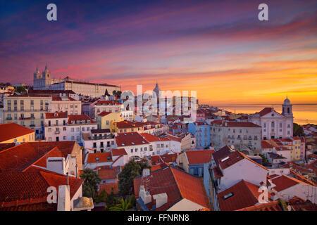 Lisbon. Image of Lisbon, Portugal during dramatic sunrise. - Stock Photo