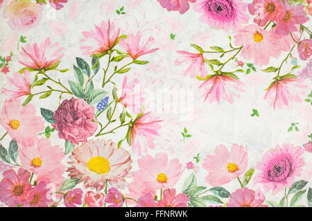 Photo of a handmade decoupage decorated flower pattern - Stock Photo