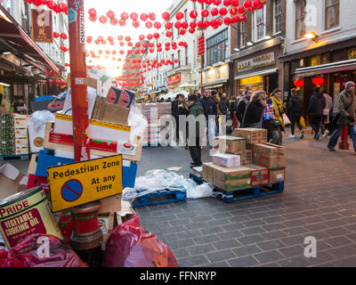 Lanterns from Chinese New Year in Chinatown - Stock Photo