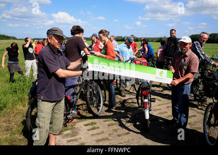 guided bike-tour GRUENES BAND near Volzendorf, Wendland, former border to DDR, Lower Saxony, Germany, Europe - Stock Photo