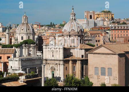 The Senate House Curia Julia, the churches of Santi Luca e Martina Via della Curia and Santissimo Nome di Maria - Stock Photo