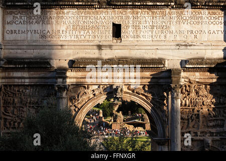 Septimius Severus Arch, Roman Forum, Rome, Lazio, Italy - Stock Photo