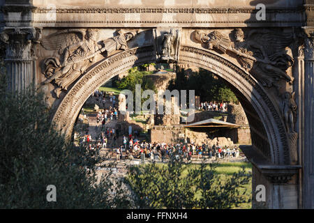 The Arch of Septimius Severus, Roman Forum, Lazio, Rome, Italy - Stock Photo