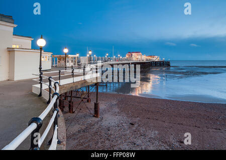 Winter evening at Worthing Pier, West Sussex, England. - Stock Photo