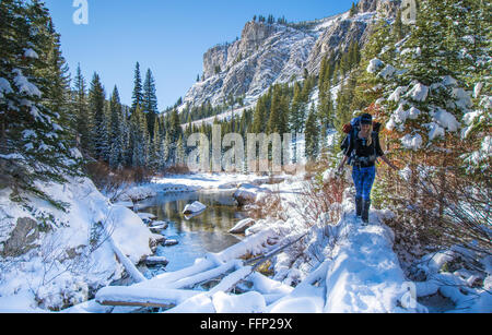 Noelle Synder Hiking to Alice Lake in the Sawtooth National Forest near Stanley Idaho - Stock Photo