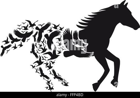 Black horse silhouette with flying birds, vector illustration - Stock Photo