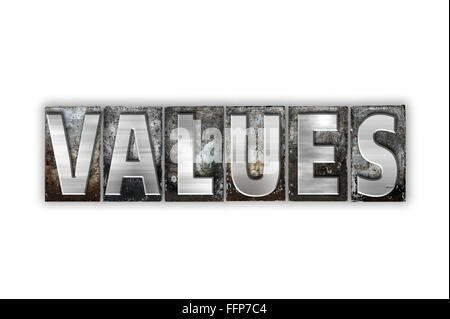 The word 'Values' written in vintage metal letterpress type isolated on a white background. - Stock Photo