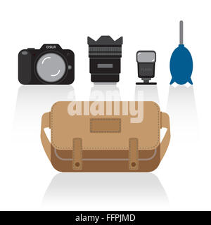 [JPEG] basic things in camera bag - Stock Photo