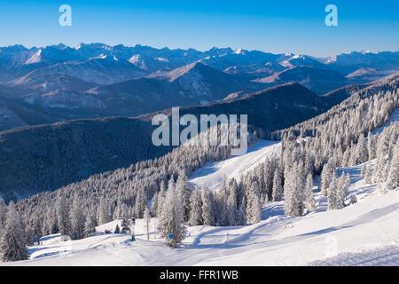 Ski resort Brauneck, view towards Karwendel, Lenggries, Isarwinkel, Bavarian Prealps, Upper Bavaria, Bavaria, Germany - Stock Photo