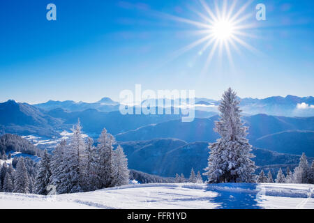 Ski resort Brauneck, Lenggries, Isarwinkel, Bavarian Prealps, Upper Bavaria, Bavaria, Germany - Stock Photo