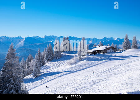 Tölzer Hütte, mountain hut, ski resort Brauneck, Lenggries, Isarwinkel, Bavarian Prealps, Upper Bavaria, Bavaria, - Stock Photo