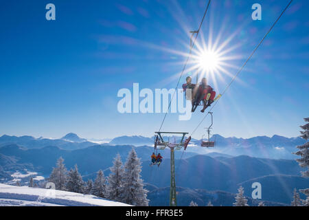 Finstermünz chairlift, ski resort Brauneck, Lenggries, Isarwinkel, Bavarian Prealps, Upper Bavaria, Bavaria, Germany - Stock Photo