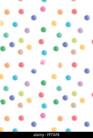 Aquarell Dots Punkte bunt Aquarellfarbe Muster Aquarellstruktur farbenfroh blau rot gruen pink hellgruen hellblau - Stock Photo