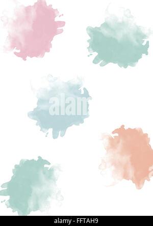 Aquarell Klecks Kleckse Dots Punkte bunt Aquarellfarbe Muster Aquarellstruktur farbenfroh blau rot gruen pink hellgruen - Stock Photo